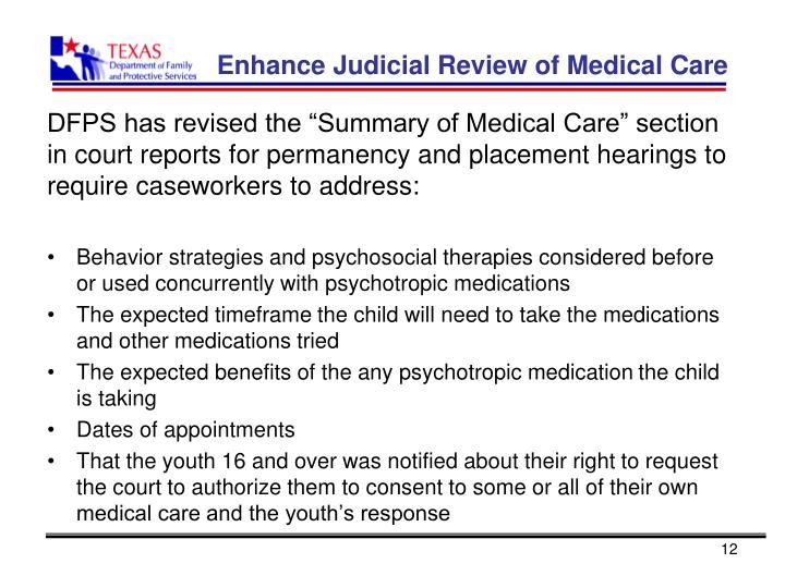 Enhance Judicial Review of Medical Care