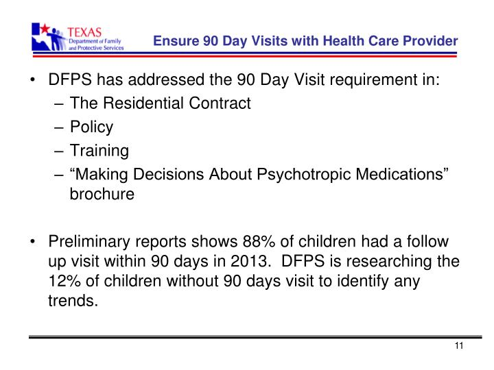 Ensure 90 Day Visits with Health Care Provider
