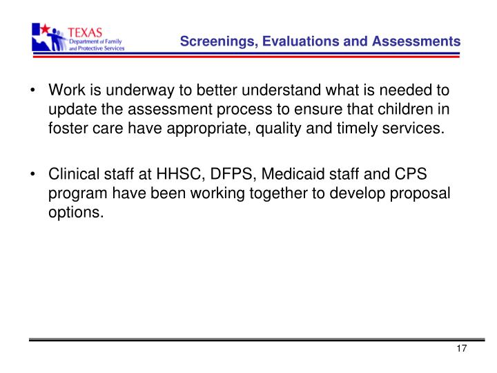 Screenings, Evaluations and Assessments