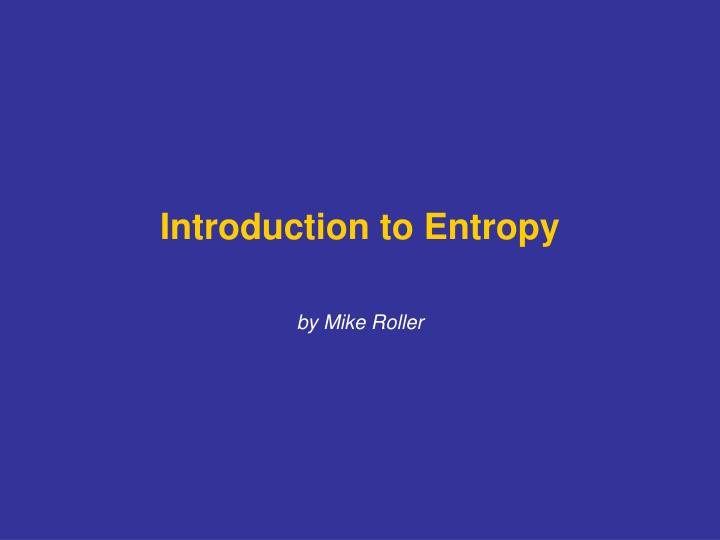 introduction to entropy n.