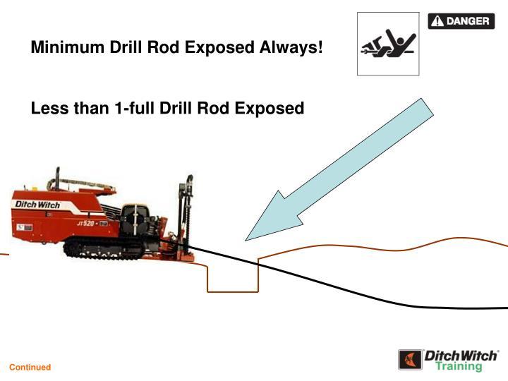 Minimum Drill Rod Exposed Always!