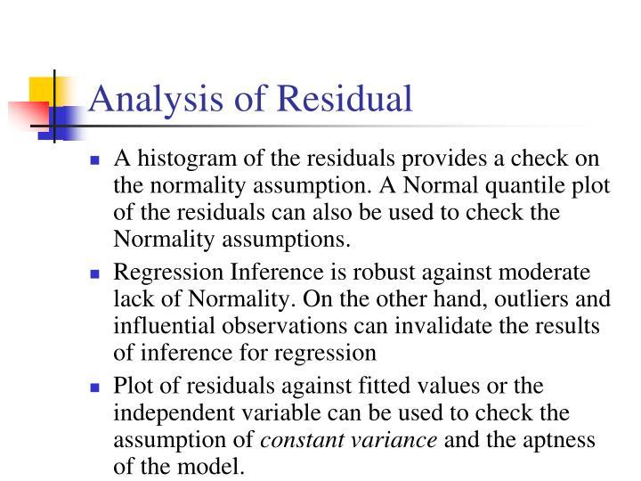 Analysis of Residual