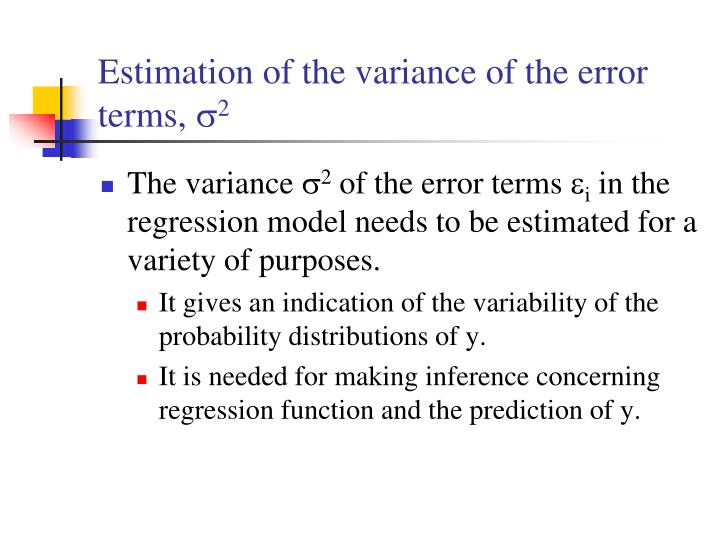 Estimation of the variance