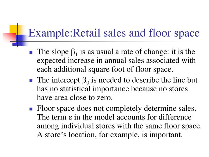 Example:Retail sales and floor space