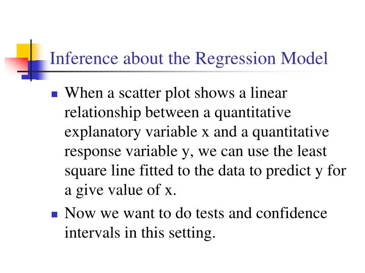 Inference about the Regression Model