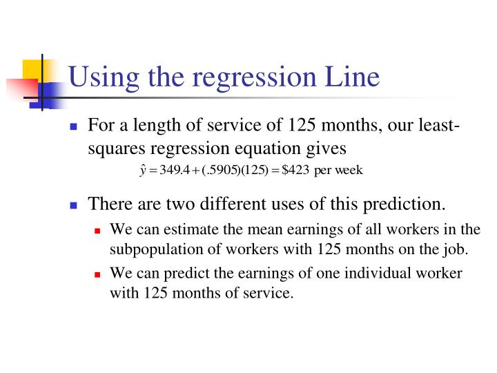 Using the regression Line