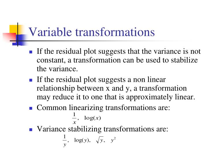 Variable transformations