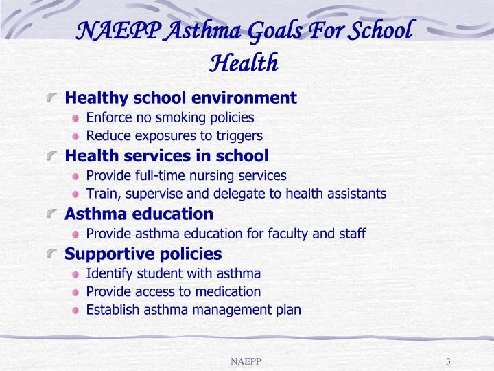 Naepp asthma goals for school health
