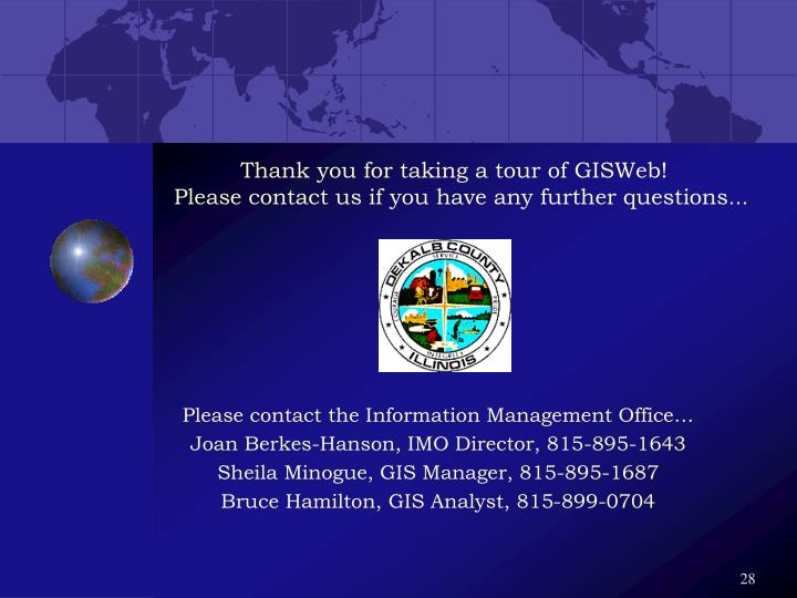 Thank you for taking a tour of GISWeb!