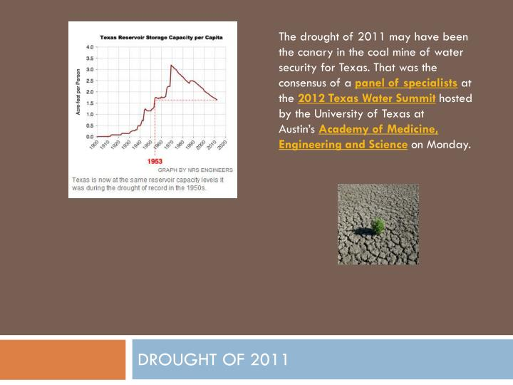 The drought of 2011 may have been the canary in the coal mine of water security for Texas. That was the consensus of a