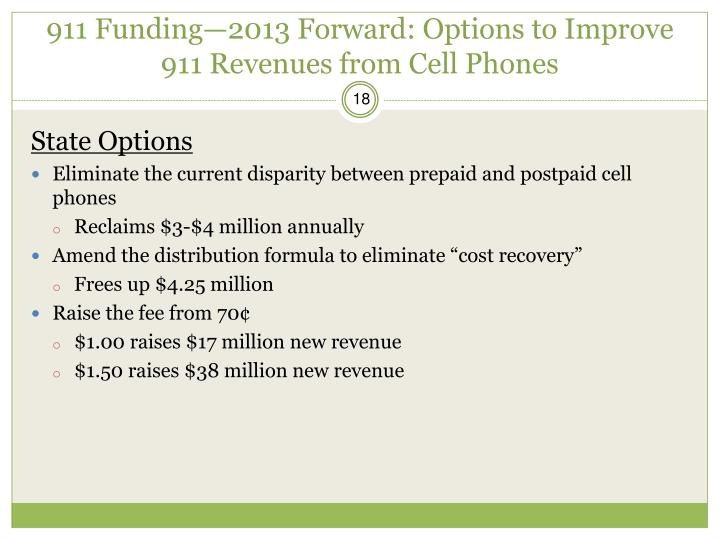 911 Funding—2013 Forward: Options to Improve 911 Revenues from Cell Phones