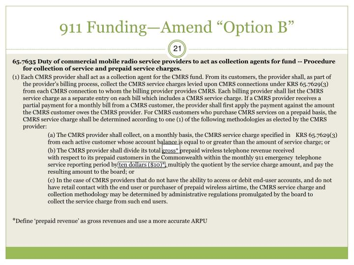 "911 Funding—Amend ""Option B"""
