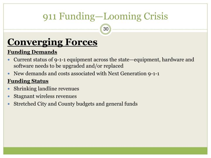 911 Funding—Looming Crisis