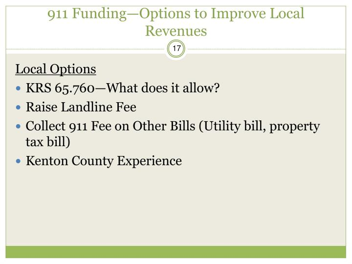 911 Funding—Options to Improve Local Revenues