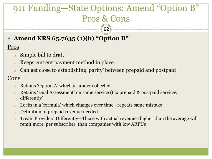 """911 Funding—State Options: Amend """"Option B"""" Pros & Cons"""