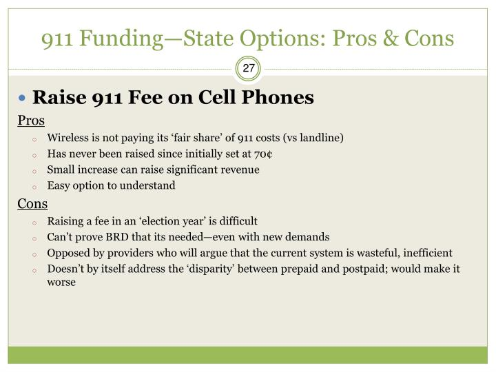 911 Funding—State Options: Pros & Cons
