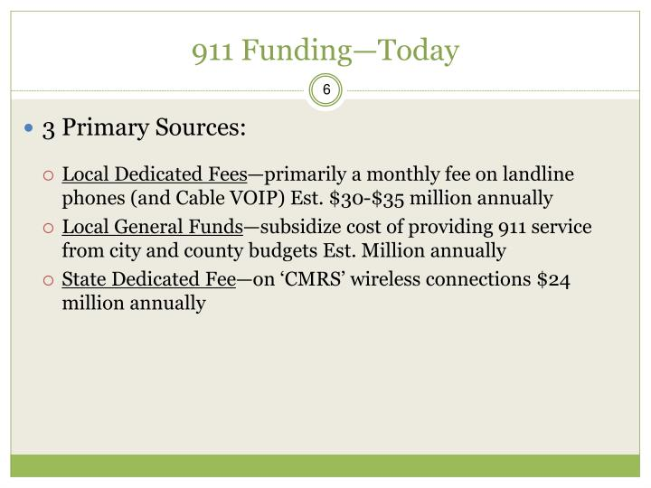 911 Funding—Today