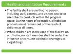 health and sanitation requirements