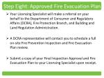step eight approved fire evacuation plan