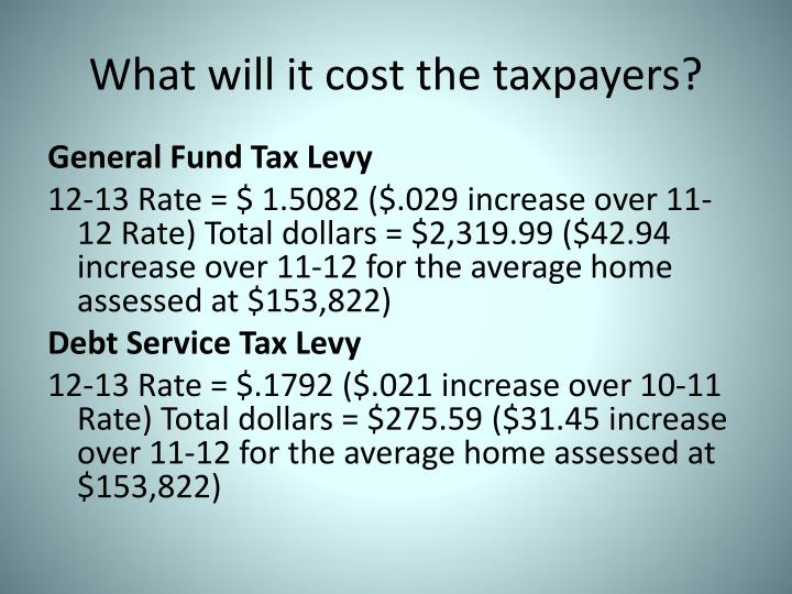 What will it cost the taxpayers?