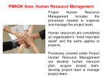 pmbok area human resource management