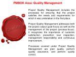 pmbok area quality management