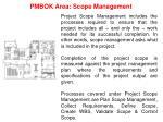 pmbok area scope management