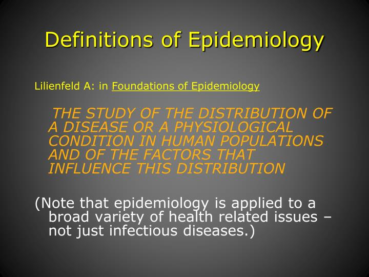 Definitions of epidemiology