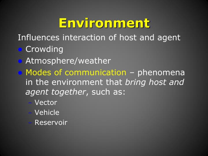 Influences interaction of host and agent