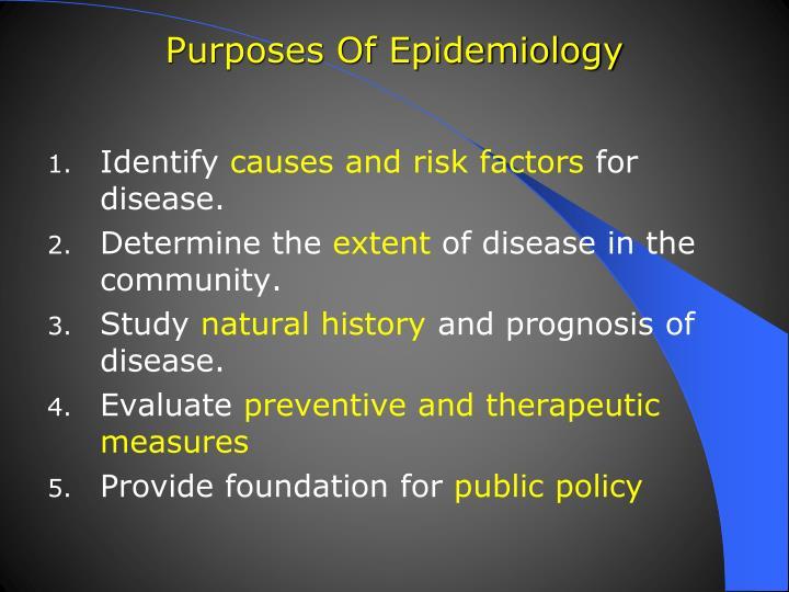 Purposes of epidemiology