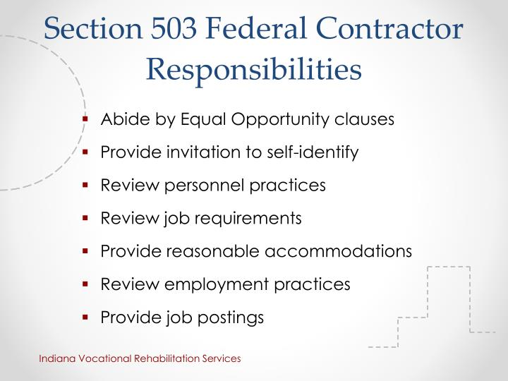 Section 503 Federal Contractor Responsibilities