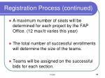 registration process continued