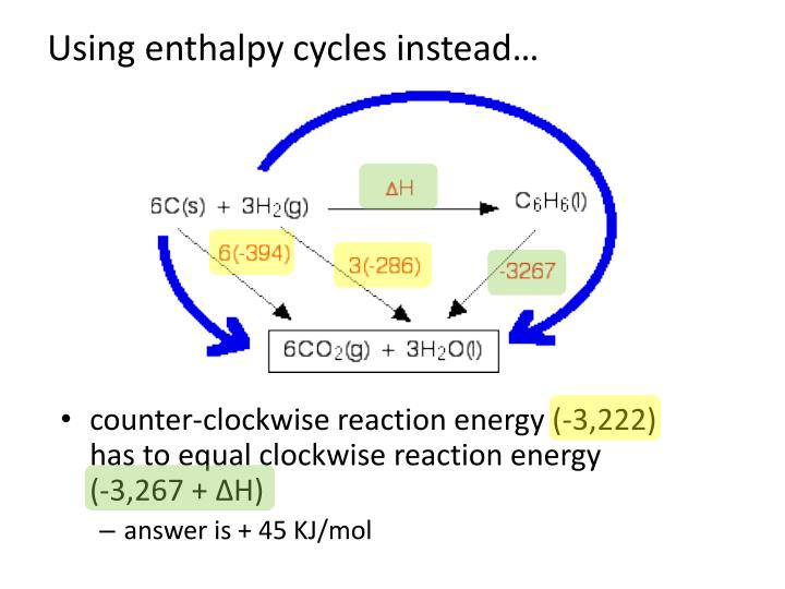 Using enthalpy cycles instead…