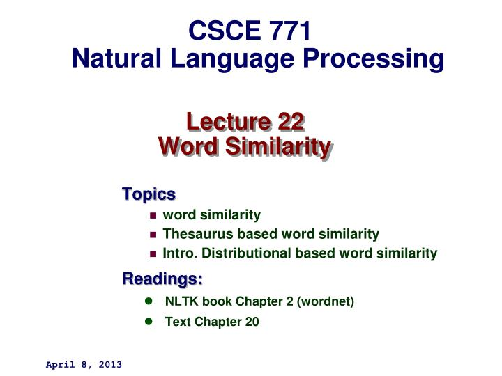 lecture 22 word similarity n.