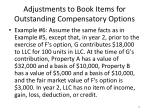 adjustments to book items for outstanding compensatory options2