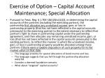 exercise of option capital account maintenance special allocation