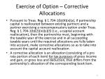 exercise of option corrective allocations