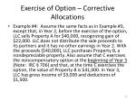 exercise of option corrective allocations3