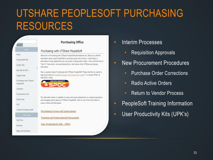 UTShare PeopleSoft purchasing resources