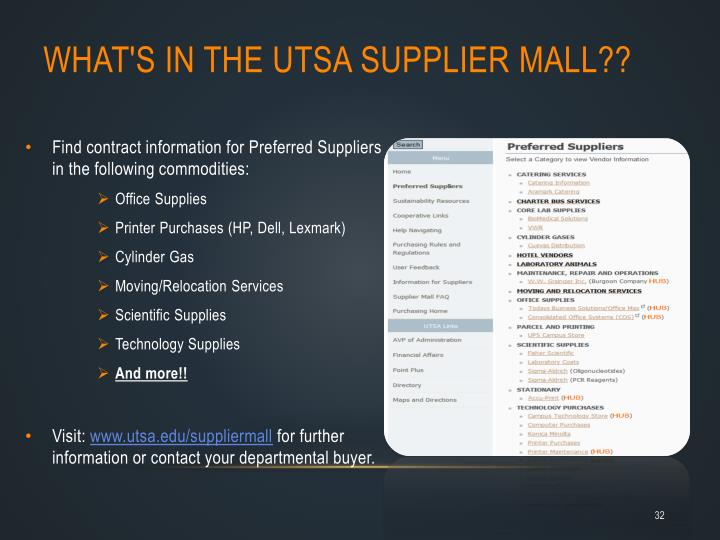 What's in the UTSA Supplier Mall??