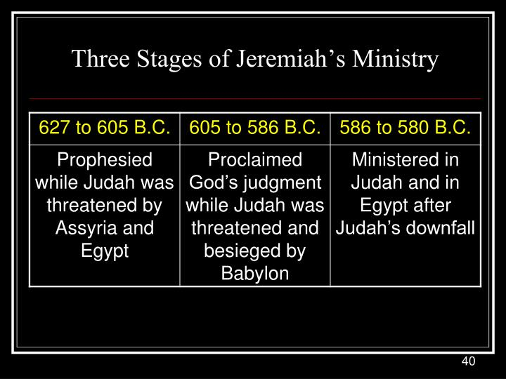 Three Stages of Jeremiah's Ministry