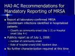 hai ac recommendations for mandatory reporting of mrsa