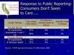 response to public reporting consumers don t seem to care