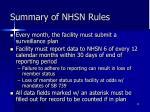 summary of nhsn rules