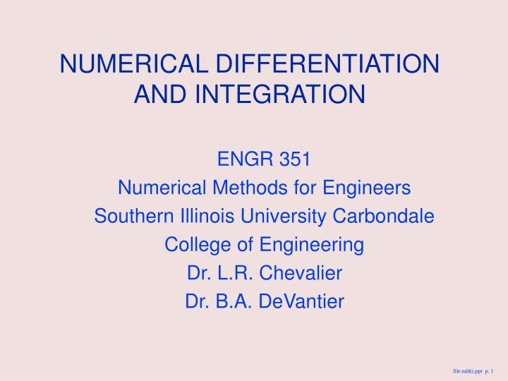 numerical differentiation and integration n.