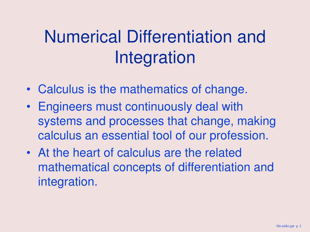 PPT - NUMERICAL DIFFERENTIATION AND INTEGRATION PowerPoint