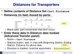 distances for transporters
