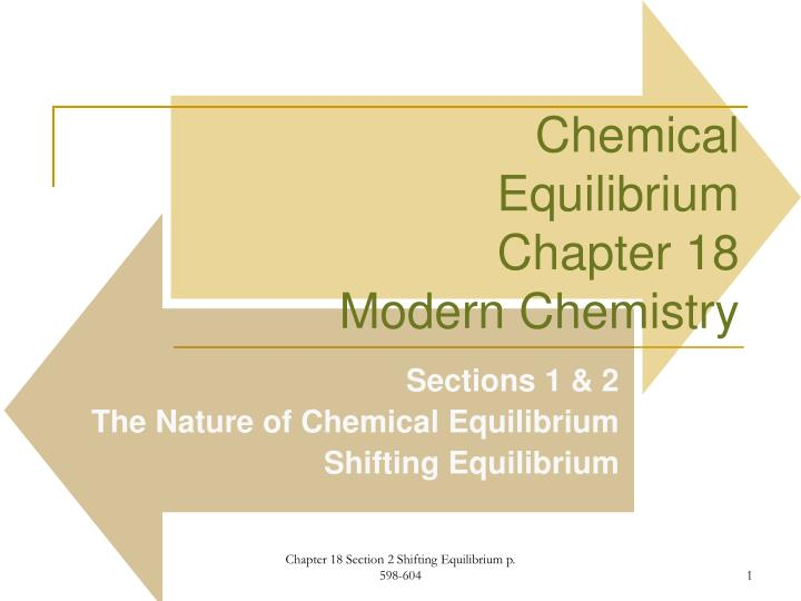 chemical equilibrium chapter 18 modern chemistry n.