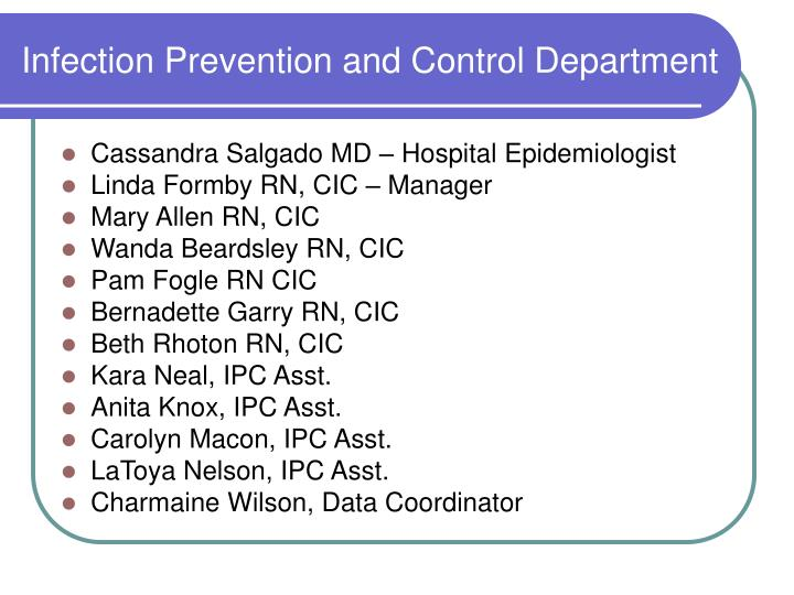 Infection prevention and control department