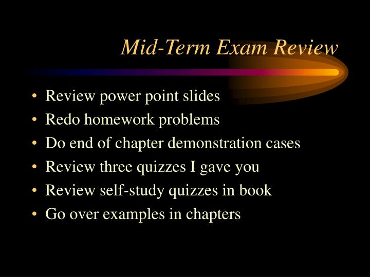 mid term exam review n.